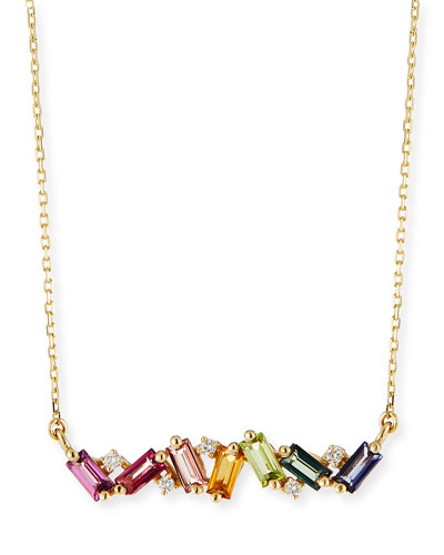 14K Yellow Gold Rainbow Zigzag Bar Necklace with Diamonds