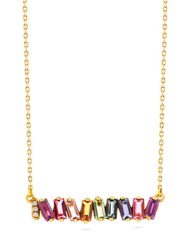 14K Yellow Gold Rainbow Bar Necklace w/ Diamonds