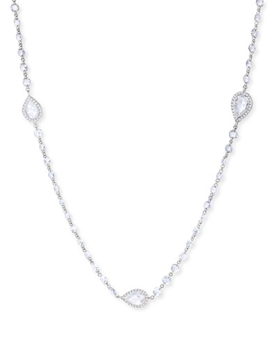 18k White Gold 9-Station Diamond Pear Necklace
