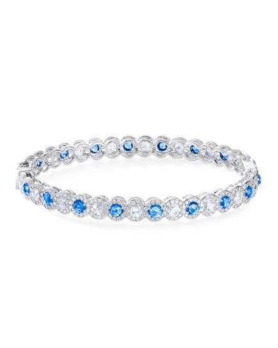 18k White Gold Hinged Bracelet w/ Diamonds & Blue Sapphires