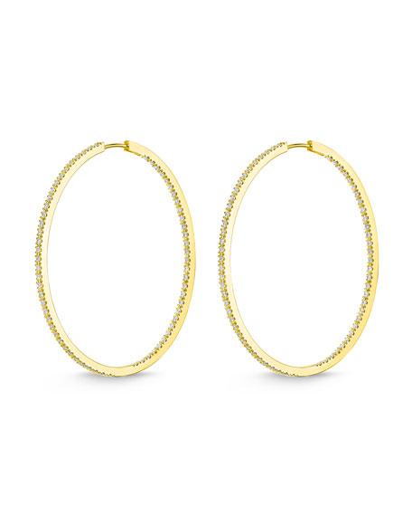 Memoire 18k Gold Diamond Oval Hoop Earrings