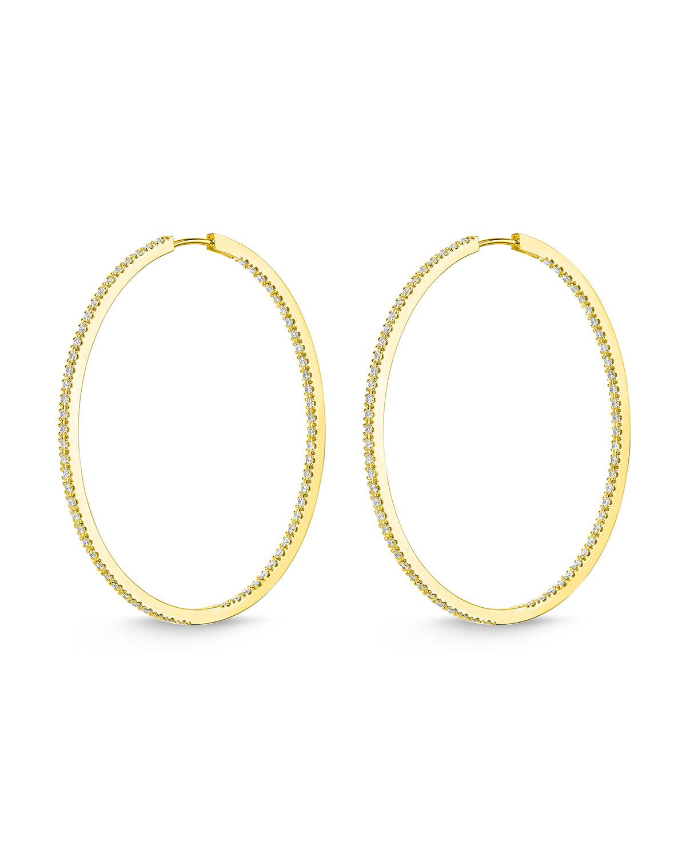 18k Gold Diamond Oval Hoop Earrings