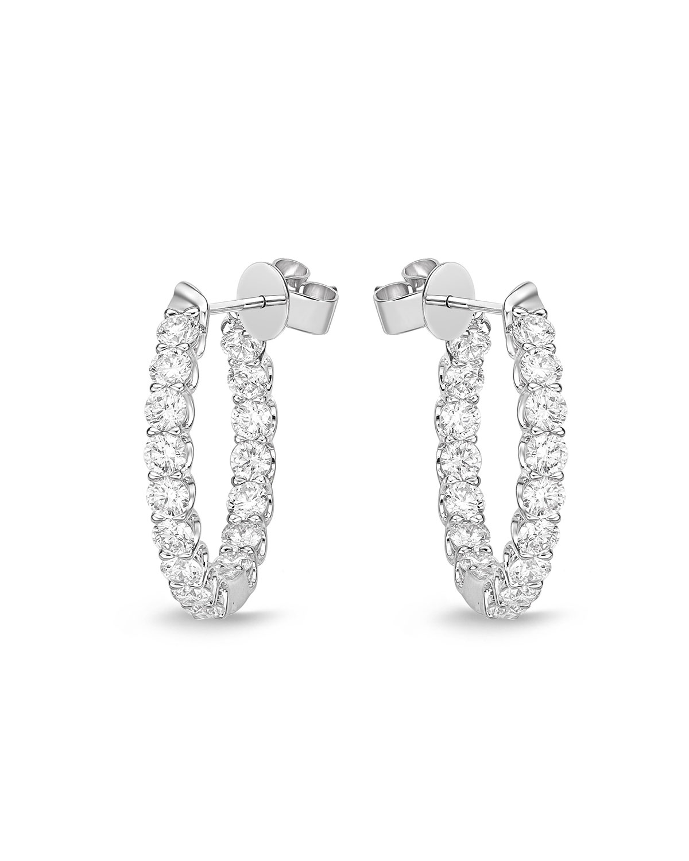 18k White Gold Diamond U-Basket Hoop Earrings