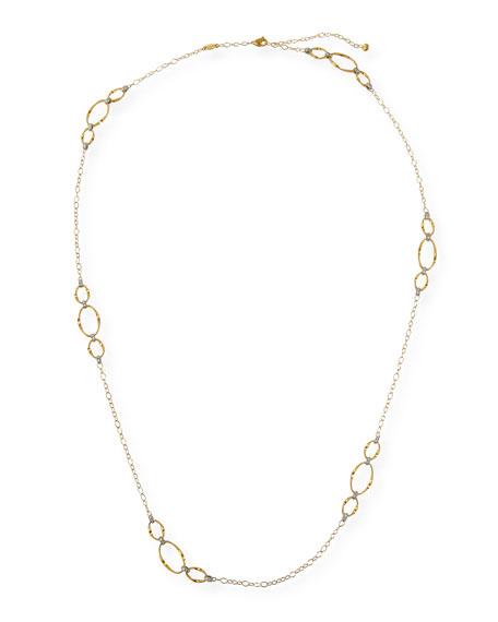Marco Bicego Marrakech Onde 18K Diamond Oval-Link Necklace