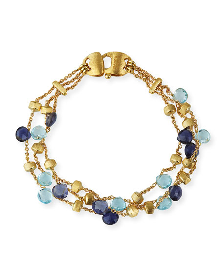 Marco Bicego Paradise 18k 3-Strand Gemstone Bracelet