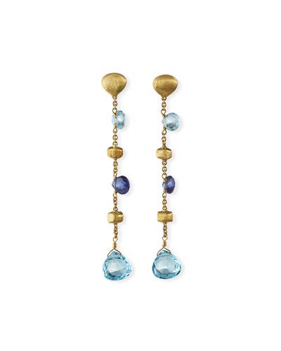 Paradise 18k Long Gemstone Drop Earrings