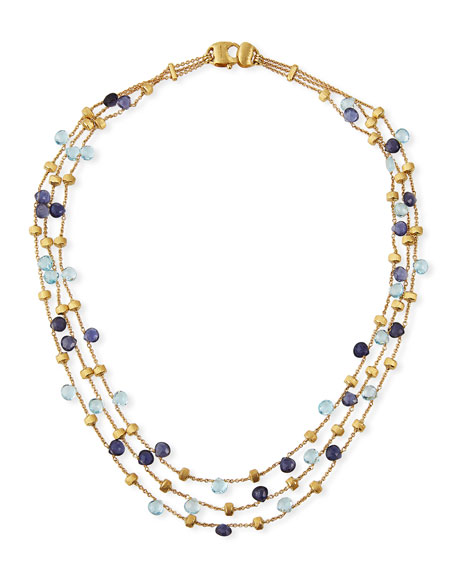 Marco Bicego Paradise 18k 3-Strand Gemstone Collar