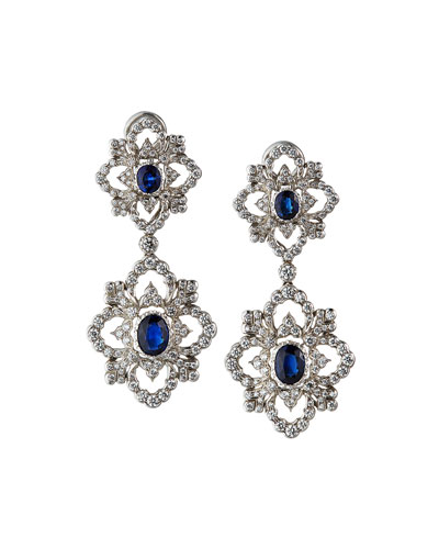 Opera 18k White Gold Blue Sapphire & Diamond Earrings