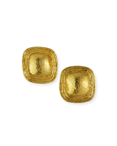 19k Domed Square Button Earrings