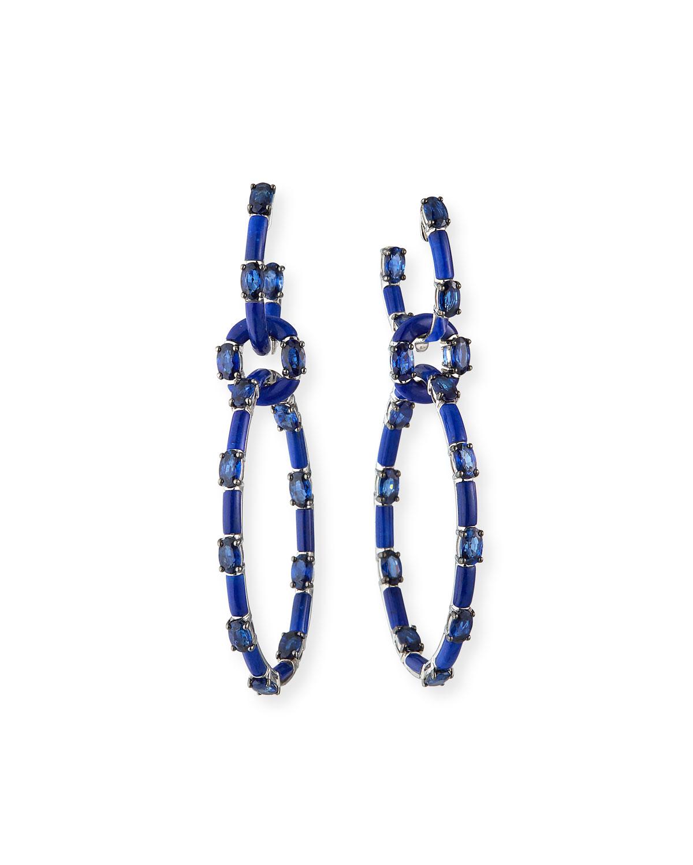 18k White Gold Blue Sapphire & Lapis Multi-Hoop Earrings