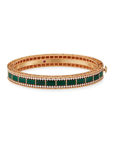 Art Deco 18k Rose Gold Malachite & Diamond Bangle