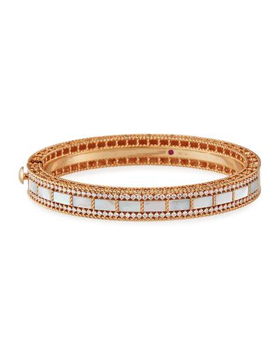 Art Deco 18k Rose Gold Mother-of-Pearl & Diamond Bangle