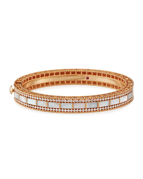 Roberto Coin Art Deco 18k Rose Gold Mother-of-Pearl & Diamond Bangle