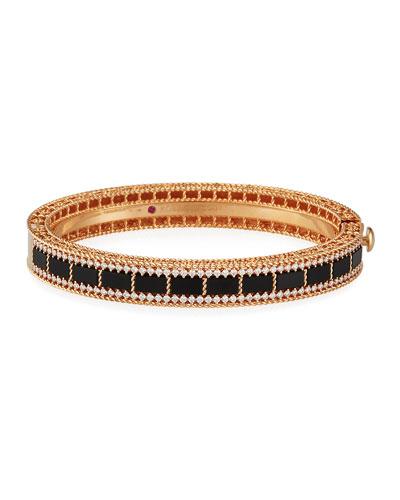 Art Deco 18k Rose Gold Black Jade & Diamond Bracelet