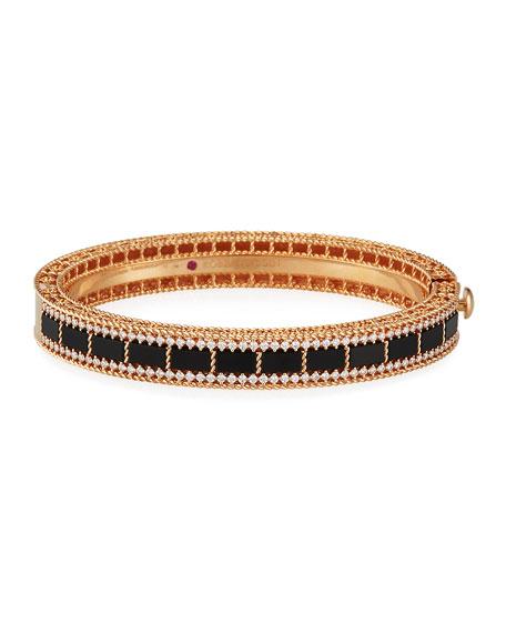 Roberto Coin Art Deco 18k Rose Gold Black Jade & Diamond Bracelet