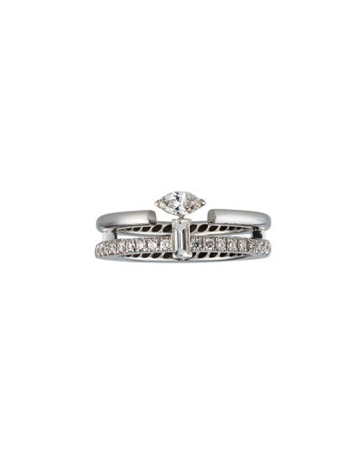 Procida 18k White Gold Diamond Pave & Marquise Ring, Size 6.5