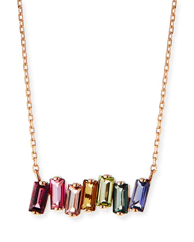 14K Rose Gold Rainbow Bar Necklace