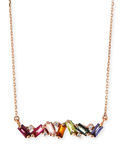 14K Rose Gold Rainbow Zigzag Bar Necklace w/ Diamonds