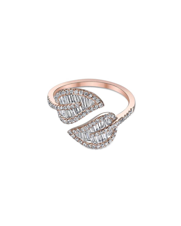 18k Rose Gold & Diamond Leaf Ring