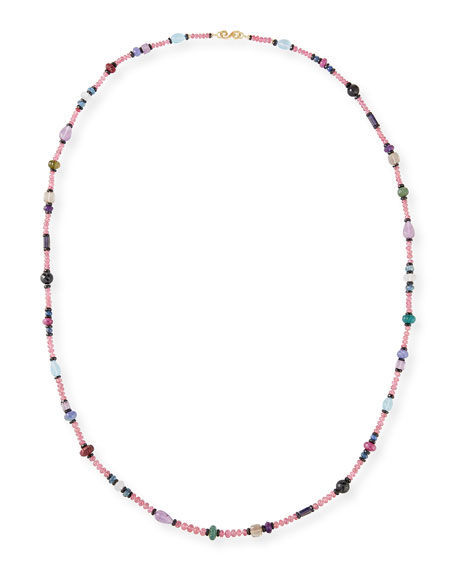 "Splendid Company Long Pink Spinel Mixed-Stone Necklace, 36""L"
