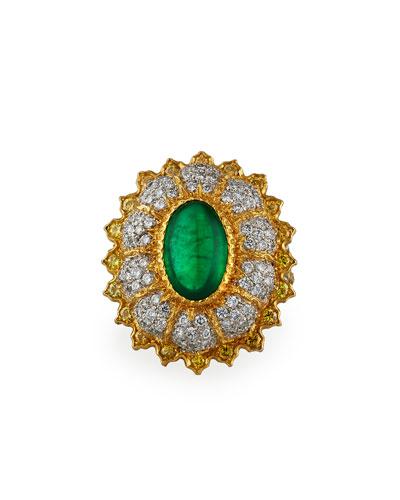 18k Emerald Cocktail Ring w/ Diamonds, Size 6.5