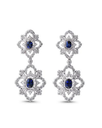 Opera 18k White Gold Pendant Earrings w/ Sapphires & Diamonds