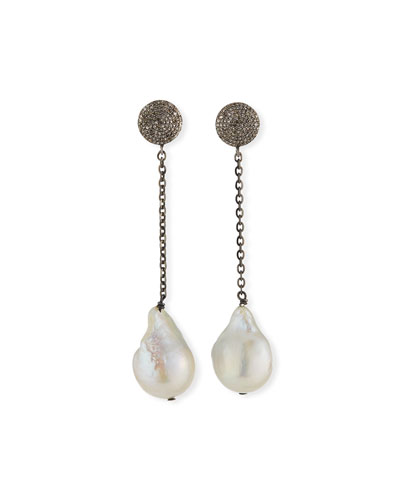 Baroque Pearl Dangle Earrings w/ Diamond Discs