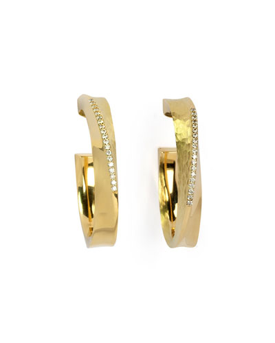 18k Yellow Gold Hula Hoop Diamond-Pave Hoop Earrings