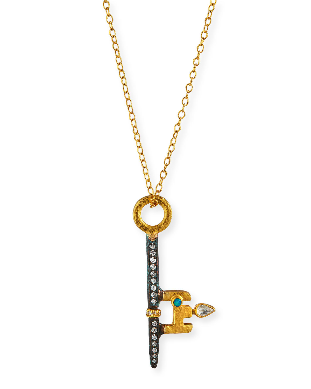 "24K Roman Guardian ""Felicitas"" Key Pendant Necklace w/ Diamonds"