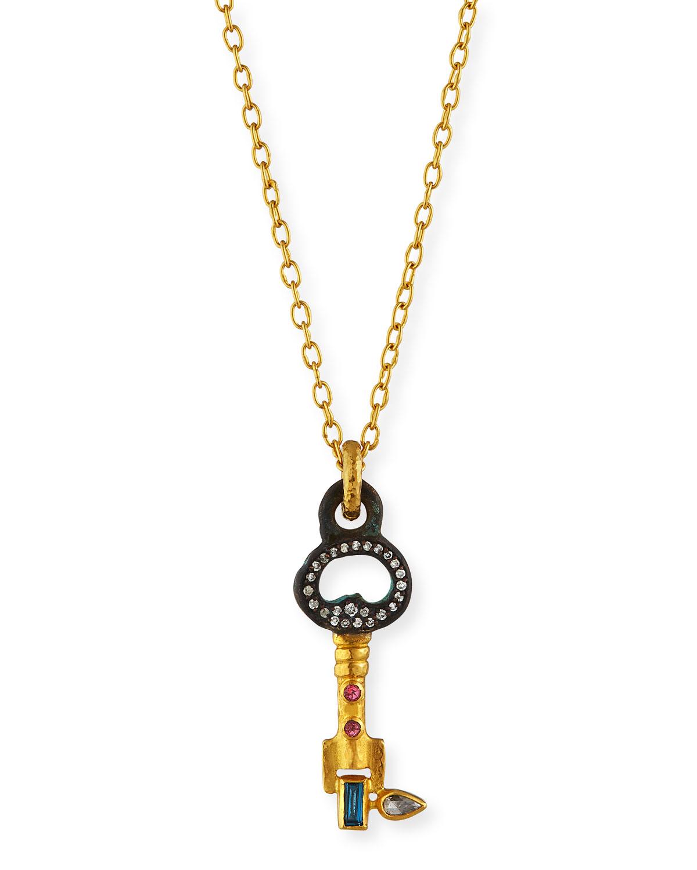 "24K Roman Guardian ""Honorata"" Key Pendant Necklace"