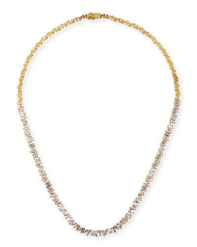 18k Diamond-Baguette Tennis Necklace