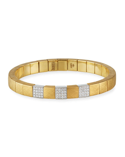 SCACCO Matte 18k 3-Diamond Pave Stretch Bracelet