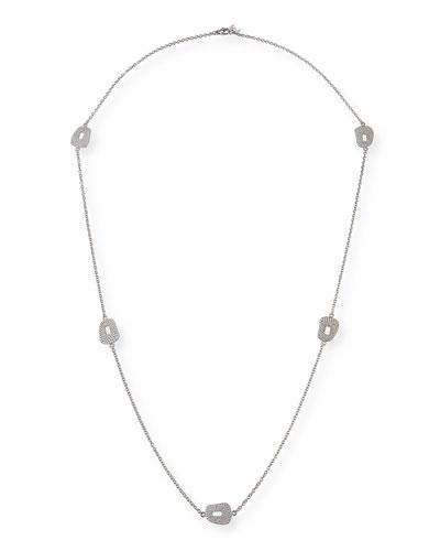 18k White Gold Diamond 5-Puzzle Station Necklace