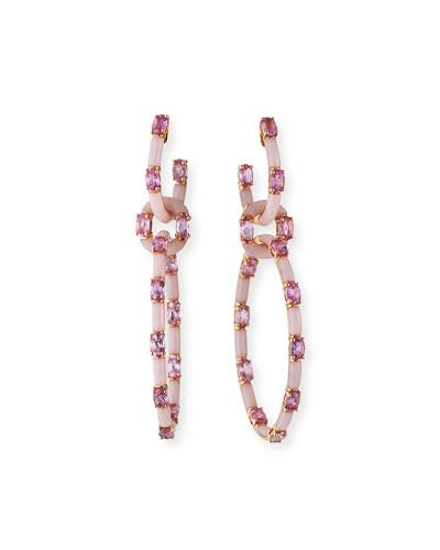 18k Rose Gold Pink Sapphire & Opal Interlocking Earrings