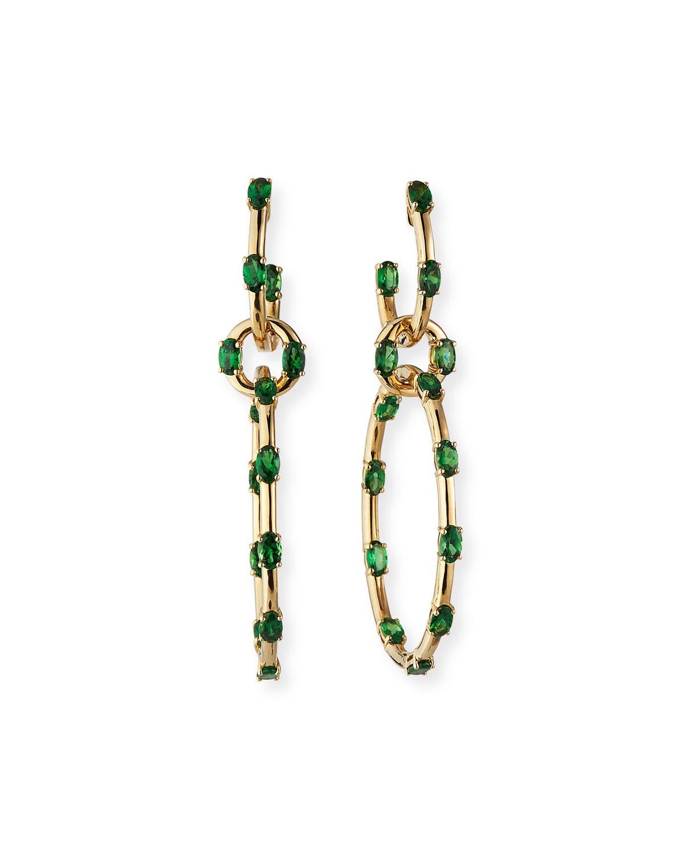 18k Yellow Gold Tsavorite Interlocking Earrings