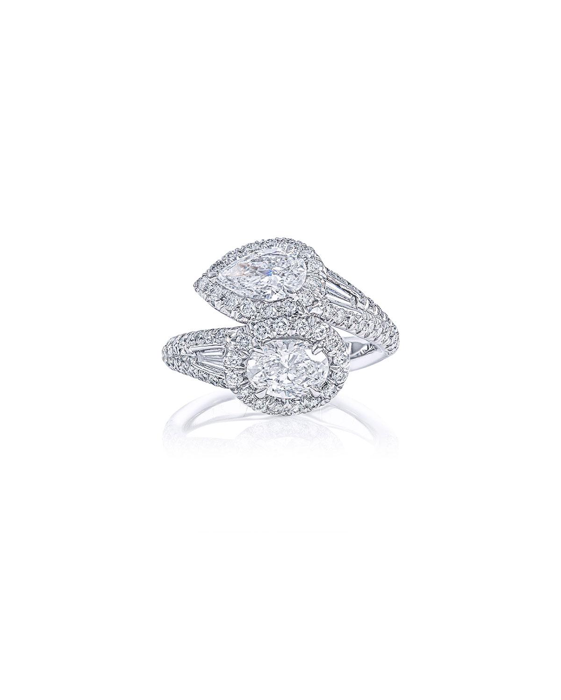 Platinum Diamond Pear & Oval Bypass Ring