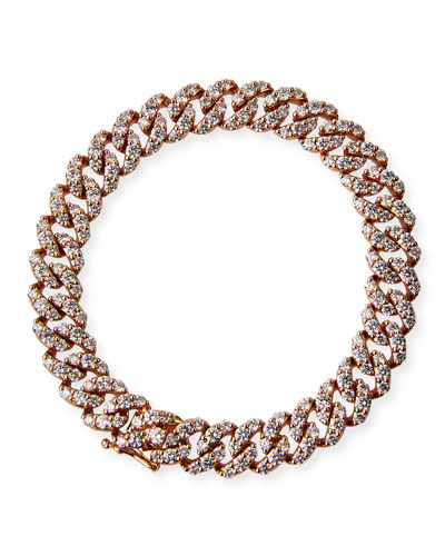 18k Rose Gold Diamond Pave Curb-Link Bracelet