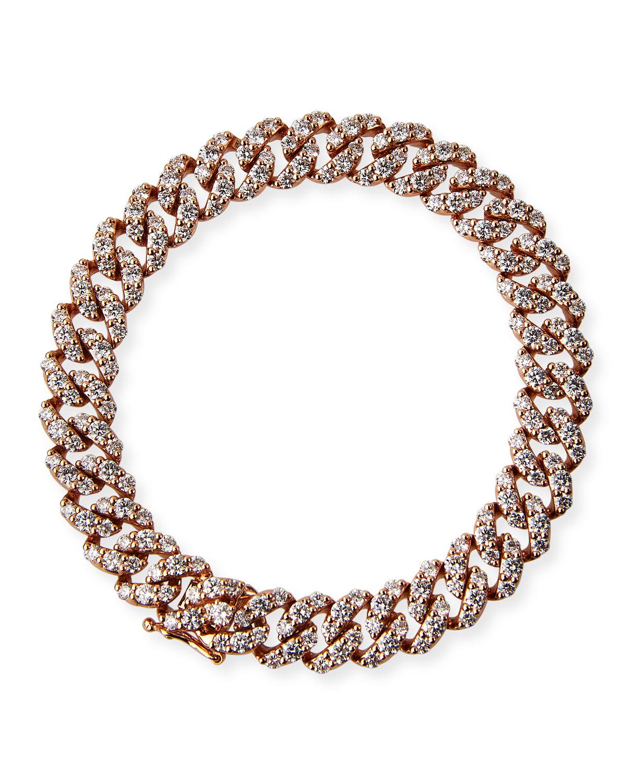 18k Rose Gold Diamond Pave Curb-Link Bracelet