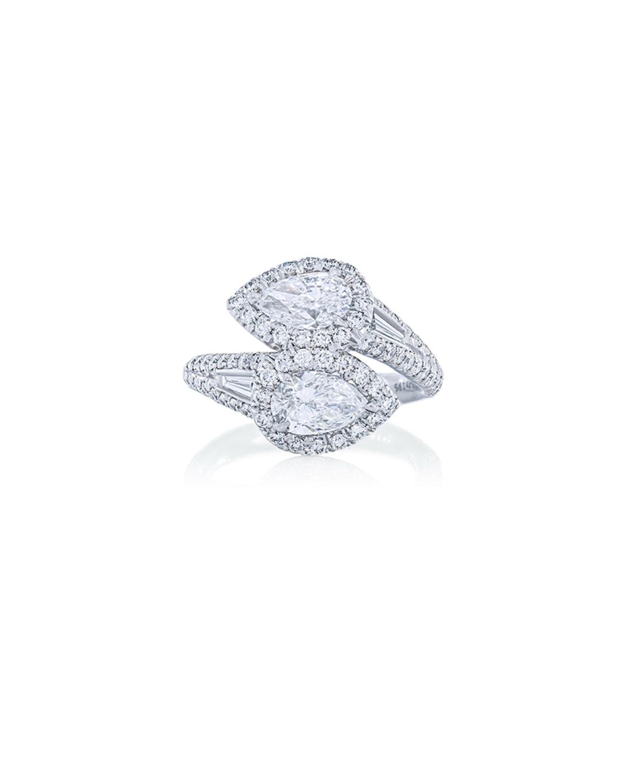 Platinum Diamond Pear Bypass Ring