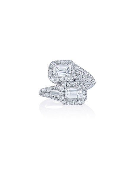 JB Star Platinum Emerald-Cut Diamond Bypass Ring