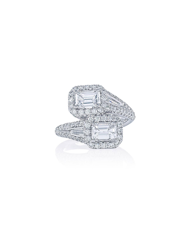 Platinum Emerald-Cut Diamond Bypass Ring