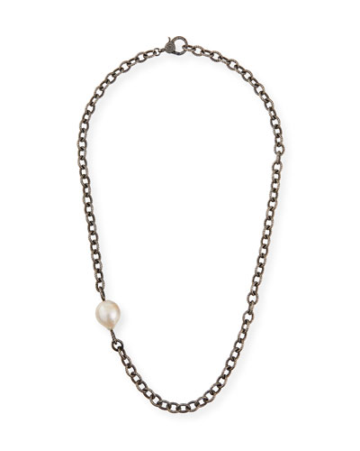 Baroque Pearl-Station Chain Necklace w/ Diamond Clasp