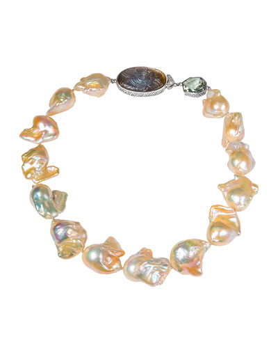 Large Baroque Pearl Necklace w/ Stone Stations