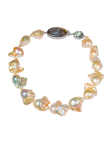 Stephen Dweck Large Baroque Pearl Necklace w/ Stone Stations
