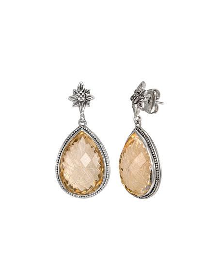 Stephen Dweck Crystal Quartz Intaglio Teardrop Earrings