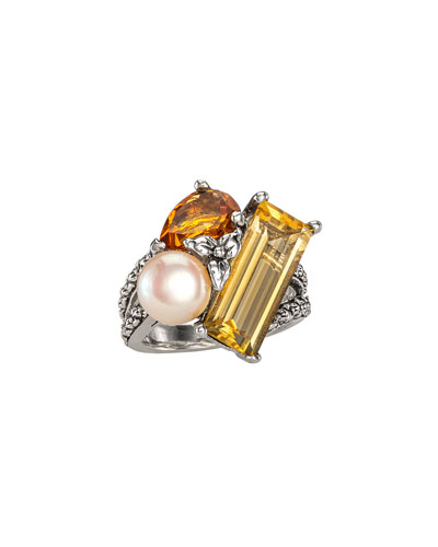 Pearl & Citrine Cluster Ring