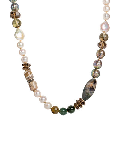 Long Pearl & Mixed-Bead Necklace w/ Jasper & Quartz