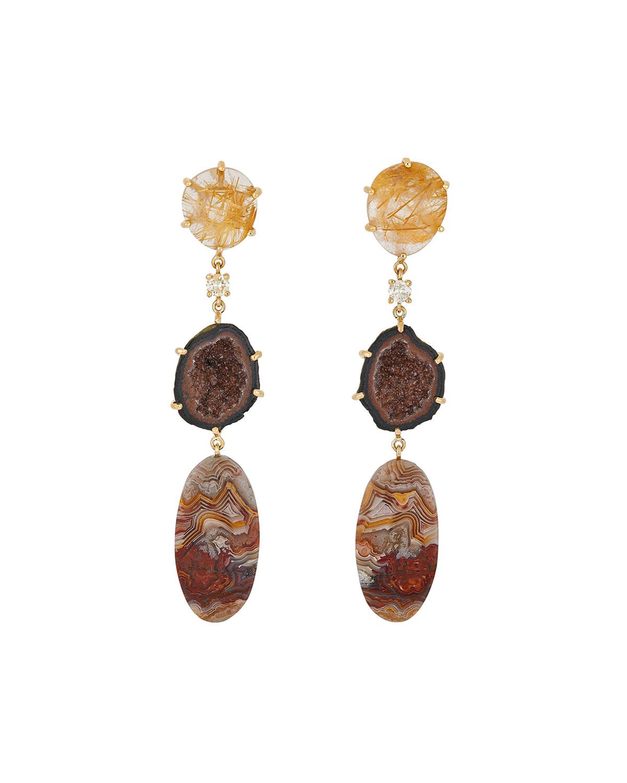 18k Bespoke 3-Tier One-of-a-Kind Luxury Earrings w/ Rutilated Quartz