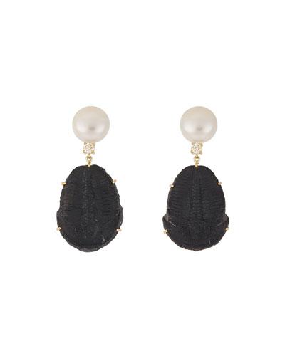 18k Bespoke 2-Tier Tribal Luxury Earrings w/ Pearl, Trilobite Fossil & Diamonds