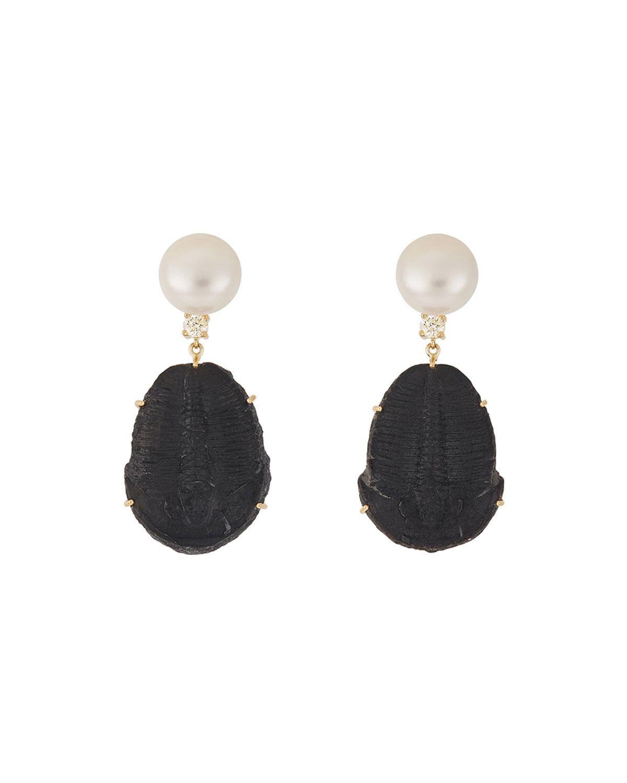 18k Bespoke 2-Tier One-of-a-Kind Luxury Earrings w/ Pearl